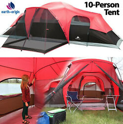 Large Outdoor Camping Tent 10 Person 3 Room Cabin Screen Porch Waterproof Red $176.04