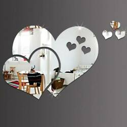 Love Heart Mirror Tiles Kitchen Wall Stickers Stick on Decals Home Bedroom Decor $7.78