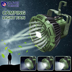 2 IN 1 Portable Outdoor Camping Ceiling Fan Light LED Hanging Tent Lamp Lantern $22.99