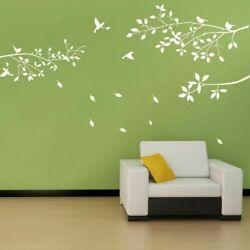 White Tree Branches With Birds And Leaves Fashion Home Wall Stickers Decoration $39.64