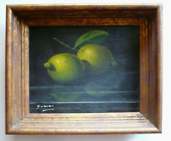 GUSINI COLLECTIBLE LISTED FRUIT LEMON SURREAL MODERNISM REALIST OLD OIL MODERN $285.00