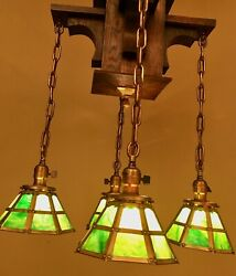 Vintage Lighting 1905 Mission stained glass wood chandelier. Extraordinary $4800.00