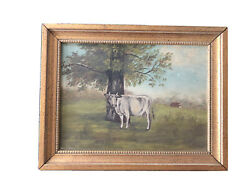 Antique Oil painting Cow in a Pasture Landscape Small on Canvas $175.00