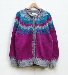 Vintage For The Lodge L 100% Lambswool Sweater Cardigan Made in Bolivia $34.99