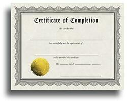 Certificate of Completion Certificate Paper with Embossed Gold Assorted Sizes $17.91