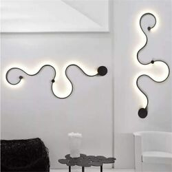Modern Nordic Acrylic Curve Linear Wall Light LED Snake Wall Sconce Lamp Fixture $98.00