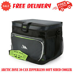 Arctic Zone 30 Can Zipperless Soft Sided Cooler With Hard Liner Grey and Green $22.95