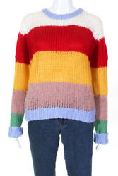 ENGLISH FACTORY Womens Crew Neck Knit Sweater Multi Colored Size Extra Small $29.24