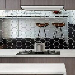48X 3D Mirror Tiles Mosaic Wall Stickers Self Adhesive Bedroom Art Decal Home BA $6.79