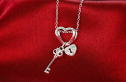 925 Sterling Silver Key Lock Heart CZ Crystal Pendant Chain Necklace Womens GIFT $7.99