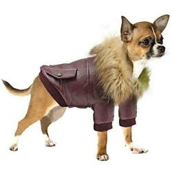 Dog Leather Jacket Waterproof Small Dog Winter Coat Puppy Red Size SI9U $11.99