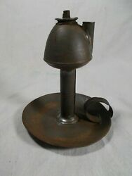 EARLY TIN WHALE OIL FINGER LAMP with DOUBLE WICK BURNER $60.00