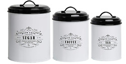 Baie Maison Large Kitchen Canisters Set of 3 Farmhouse Canister Sets for Kitch $45.40