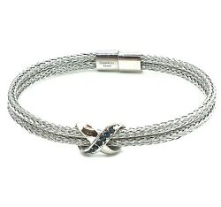 Blue Austrian Crystal Magnetic Bracelet in Stainless Steel 7.5quot; $25.00