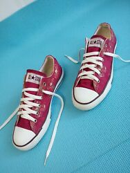 Converse All Star Women#x27;s Floral Sneakers Lace Up Low Top Burgundy Size 8 $26.00