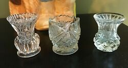 Lot of 3 Vintage Antique Crystal Clear Glass Toothpick Holders $14.95