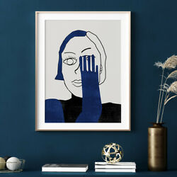 Unframed Modern Canvas Wall Art Painting Blue Woman Print Picture Home Decor $8.99