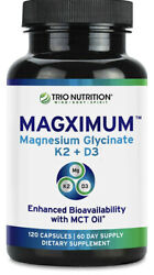 Magximum Magnesium Glycinate with Vitamin D3 K2 Chelated Magnesium With MCT Oil $18.25