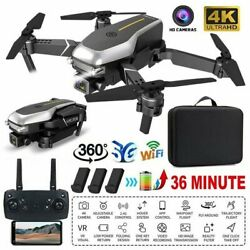 2021 Quadcopter Drone 4K HD Wide Camera Selfie WiFi FPV Foldable RC 3 Batteries $37.99