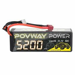 Lipo Battery POVWAY 5200mAh 11.1V 50C 3S RC Battery with Deans T Plug for RC $38.24