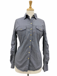 Converse One Star Long Sleeve Button Up Shirt Women#x27;s Gray Collared Outdoors M $15.99