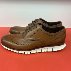 New Cole Haan Zerogrand Wingtip Oxford Shoes C14493 Brown Mens Size 9.5 $90.00