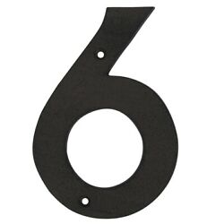 6quot; Rustic Brown Cast Iron Metal House Number 6 Home Street Address Phone Numbers