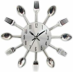 Wall Clock Large Kitchen Cutlery Utensil Spoon amp; Fork 3D Modern Home Decoration $13.99