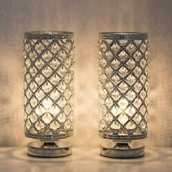 Set of 2 Small Table Lamps with Clear Crystal Lamp Shade for Bedroom Girls Room $33.99