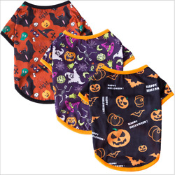 Pet Dogs Cats Clothes Halloween Collection Printing Short Sleeve Cotton T shirts $7.99
