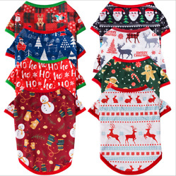 Pet Dogs Cats Clothes Christmas Collection Printing Short Sleeve Cotton T shirts $7.99