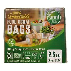 Food Scrap Small Kitchen Trash Compostable Bags 2.6 Gallon 9.84 Liter 100 Count $9.98