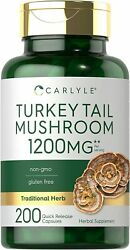 Turkey Tail Mushroom Capsule 1200mg 200 Count Non GMO by Carlyle $14.99