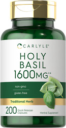 Holy Basil Capsules 1600mg 200 Count Leaf Extract Supplement by Carlyle $14.49