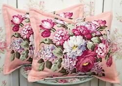 TWO Shabby VINTAGE Chic 40s Nubby BARKCLOTH Fabric Pillows MATCHING PAIR $220.00