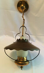 Vintage Hanging Kitchen Ceiling Light COPPER OIL LAMP RUFFLED ENAMEL SHADE Style $59.99