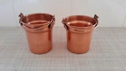 Lot of 2 Copper Bucket Candle Votive Holders 3quot; Tall EUC $19.99