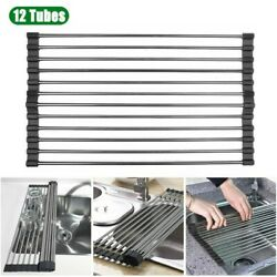Kitchen Over the Sink Drying Rack Dish Food Drainer Stainless Steel Roll Up $9.95