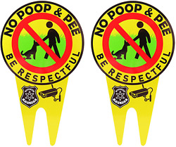 Escamun 2 Pieces of No Dog Poop Signs Respect Signs Double Sided for Gardens $16.45