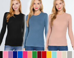 Women#x27;s Crew Neck Thermal Shirt Top Stretch Cotton Long Sleeve Basic Waffle Knit $13.99