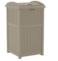 Suncast 33 Gallon Trash Can for Patio Resin Outdoor Trash with Lid Dark Taupe $54.99