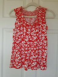 Sleeveless Top Red and White Floral Size Small with Smocking Around Neckline $7.95