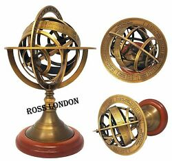Brass Collectible 8 Inch ARMILLARY SPHERE Astrolabe Globe Antique Decor Gift $55.00