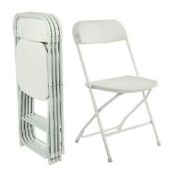 5 Commercial White Plastic Folding Chairs Stackable Wedding Party Event Chair