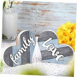 2 Pieces Rustic Family Wooden Signs Heart Shaped Wooden Family Decor Wood Blue $21.73