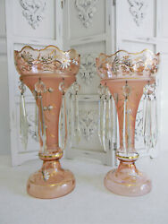 Rare Pr Antique Pale Pink Crystal Hand Painted Czech Mantle Lusters 6quot; Prisms NR $295.00