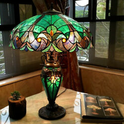 Tiffany Style Table Lamp Stained Glass Vintage Victorian Accent Office Desk $219.77