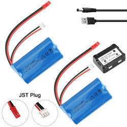 2X 1500mAh 7.4V RC Battery JST Plug Charger for HUANQI 957 948 MJX T10 T11 T34RC $22.49
