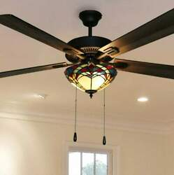 5 Blade Mission Design Stained Glass Tiffany Style Ceiling Fan Dimmable LED Inc.