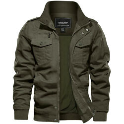 Men#x27;s Military Tactical Bomber Jacket Army Cargo Combat Casual Cotton Work Coats $42.99